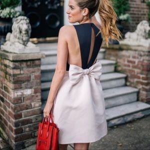 Kate Spade Black Off White Open Back Bow Dress